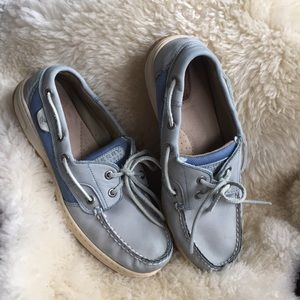 Sperry topsiders Sz 9 baby blue knit/leather blend